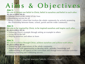 Religious Education - Mission Statement Aims &amp Objectives