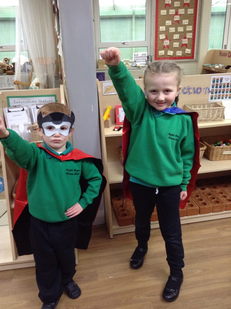 Supper hero sentence writers in Reception.