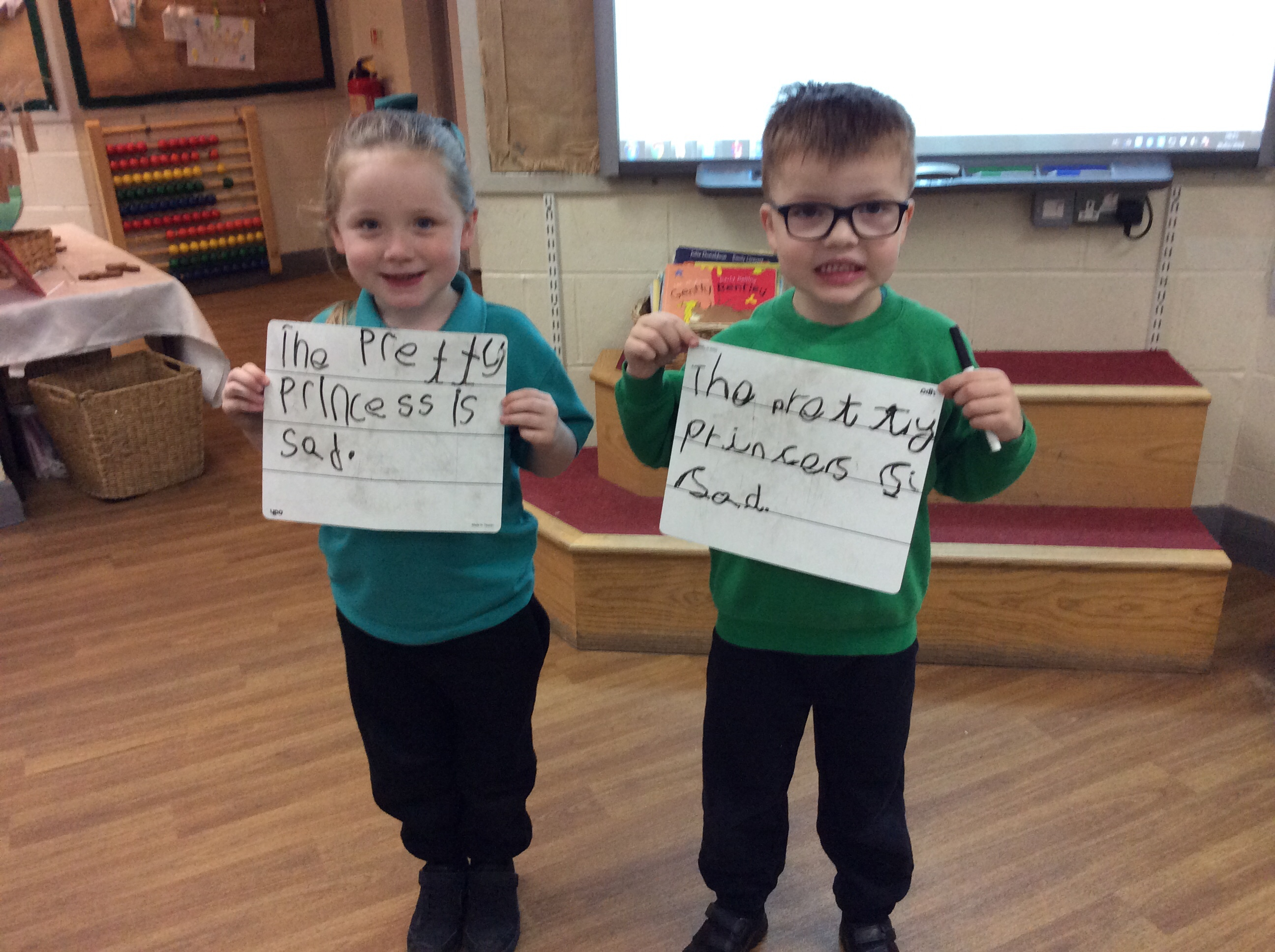 Super hero sentence writers in Reception.